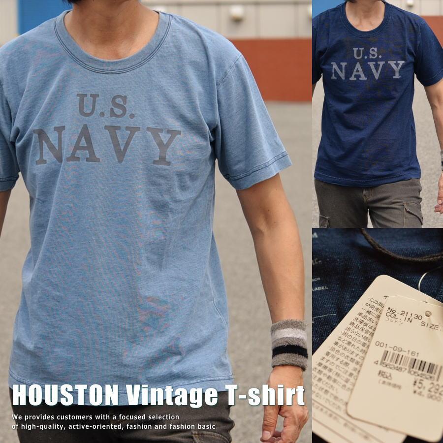 【半額!】正規 HOUSTON ヒューストン Vintage インディゴ染め Tシャツ メンズ 211H30【UNI】■02170810
