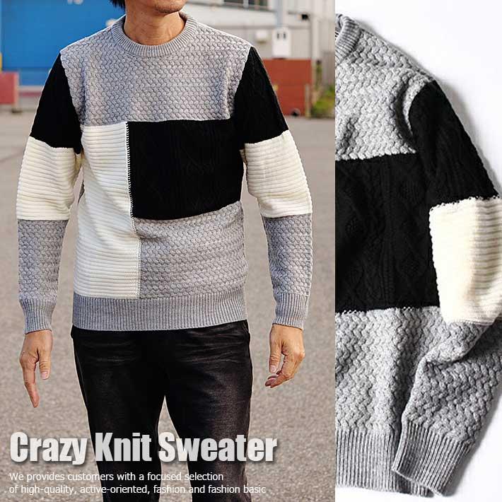 ジャカード織り ニット セーター メンズ クルーネック 7951005 クレイジー切替■171120